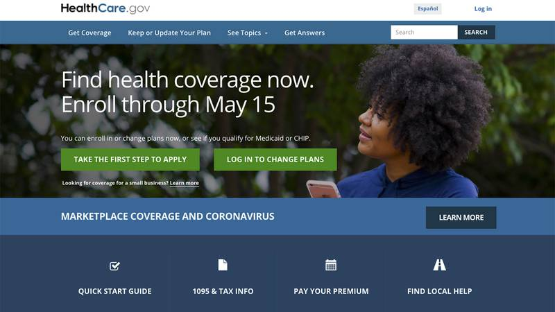 This image shows the main page of the HealthCare.gov website on Monday, Feb. 15, 2021.