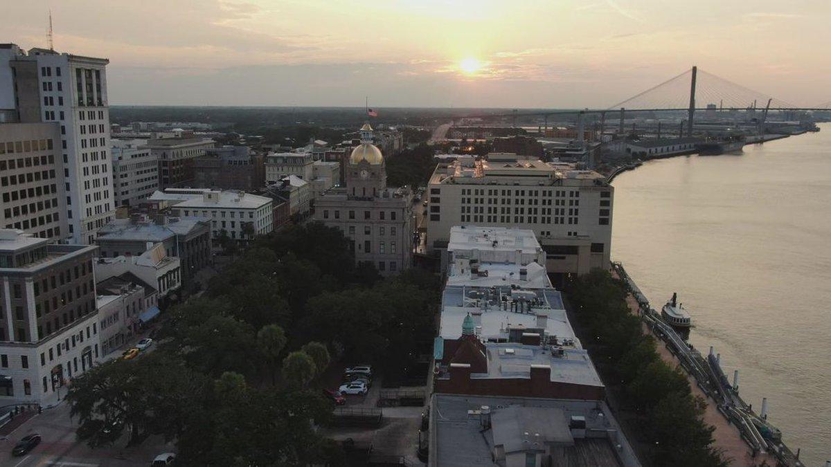 City of Savannah drone view