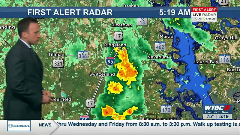 Tracking spotty rain at 5:19 a.m.