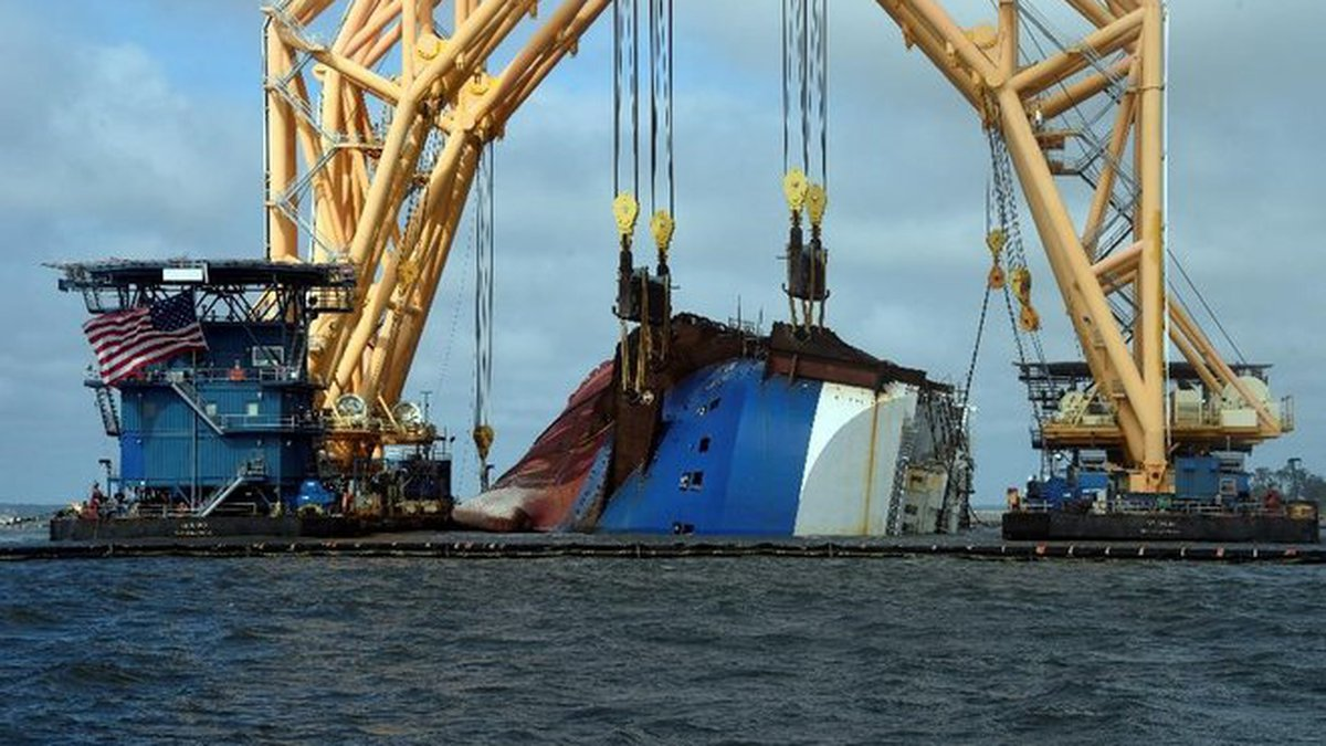 Responders begin cutting Section One of the Golden Ray wreckage for removal.