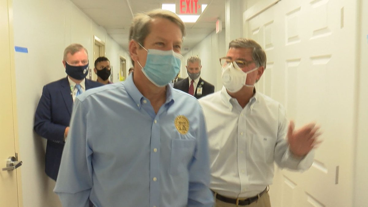 Governor Brian Kemp when he toured the mobile hospital units.