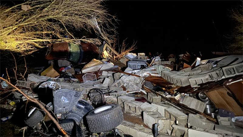 This image shows a house that was destroyed by a tornado near Damascus Monday evening