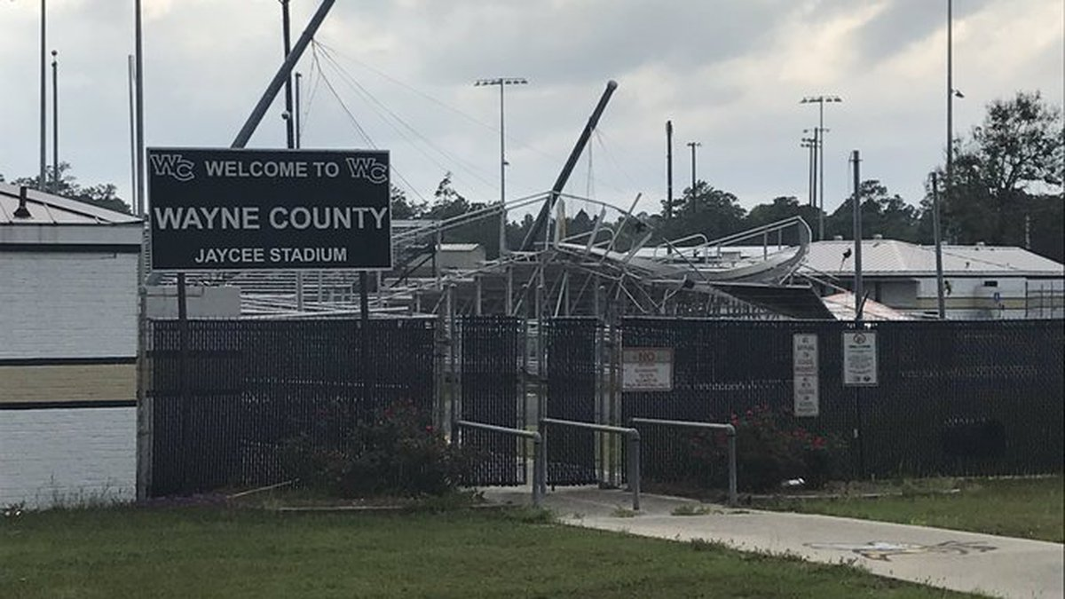The end zone bleachers, typically where the marching band sits during games, was left worse for...