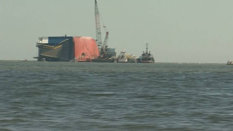 Cleanup efforts underway for capsized ship in St. Simons Sound