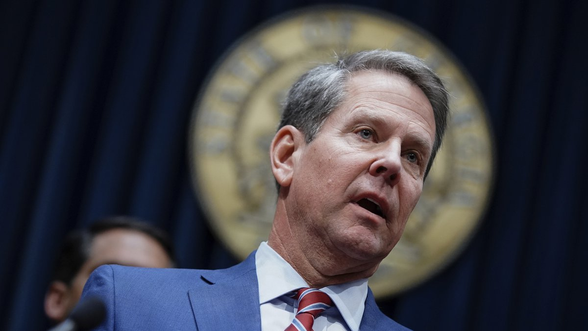 In this file photo, Georgia Gov. Brian Kemp takes questions from the media at the Georgia state...