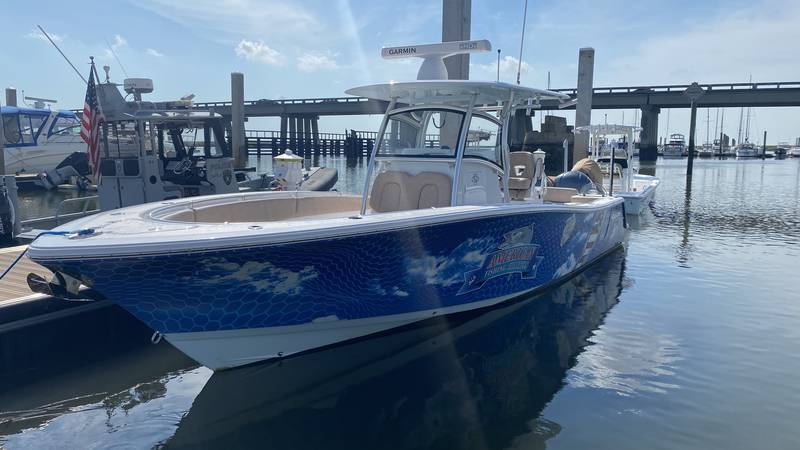 This is one of two boats Knot Lucky Fishing uses to take veterans out on the water.