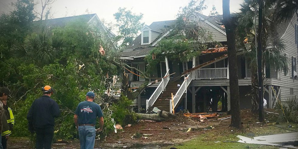 The tornado is believed to have started as a waterspout off the coat and then moved inland...
