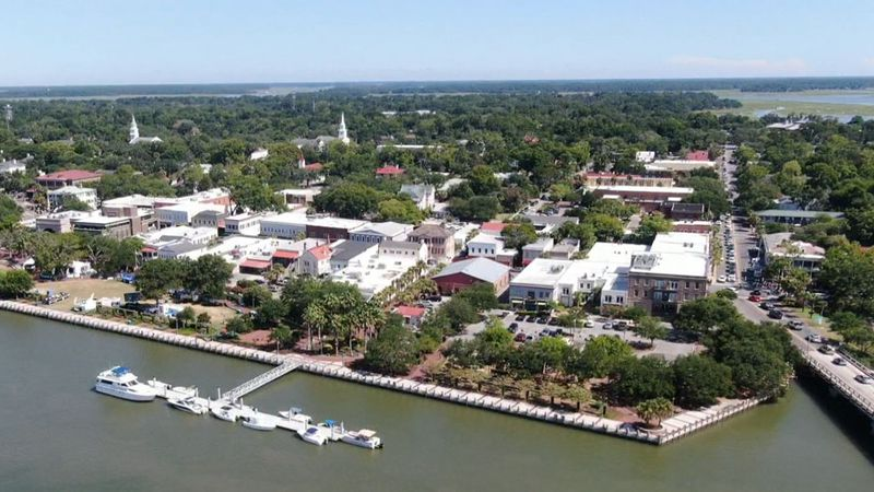 An aerial view of downtown Beaufort during the annual Water Festival Parade on Saturday, July,...