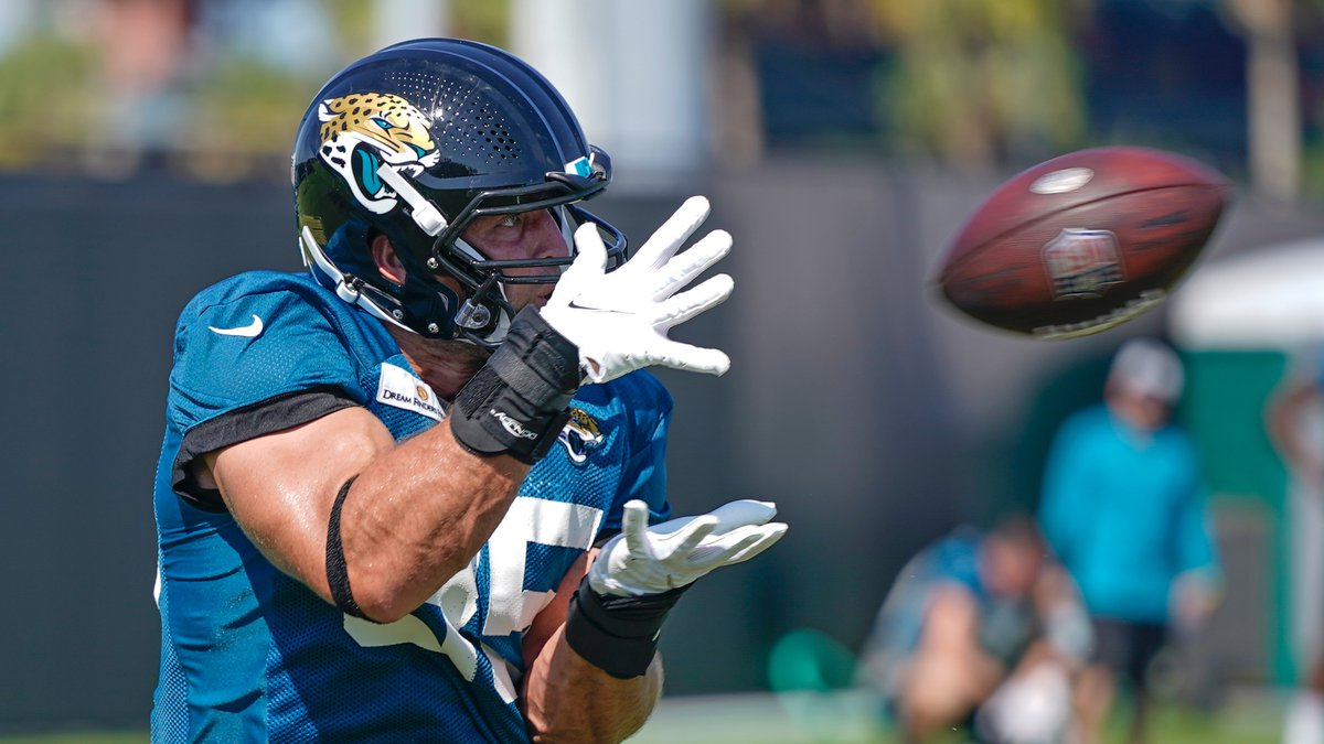 Jacksonville Jaguars tight end Tim Tebow makes a reception during a drill at NFL football...