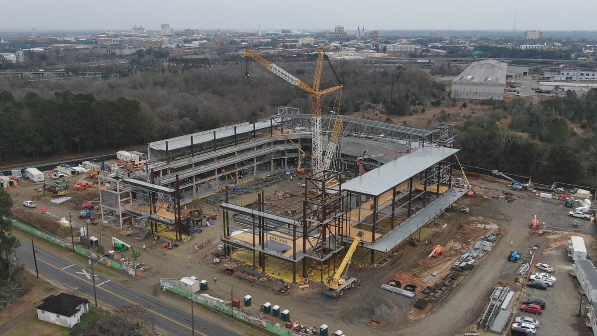Construction continues on the new arena in Savannah.