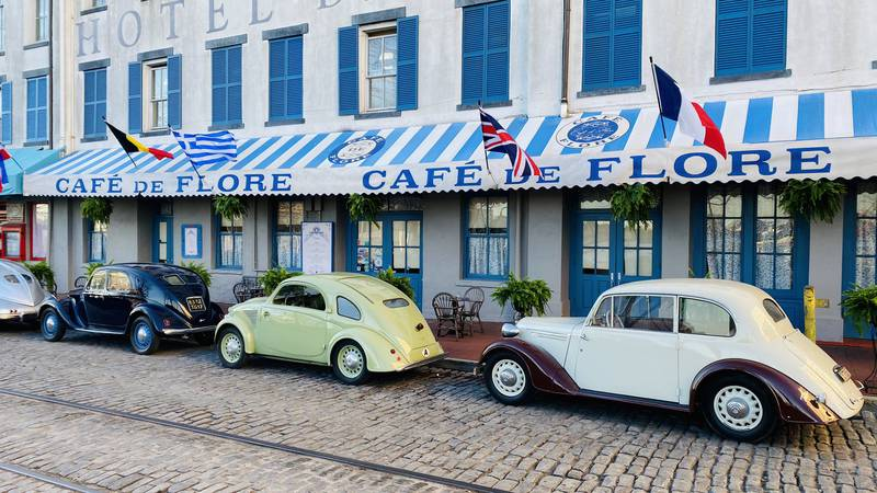"""Film crews turned the Olympia Cafe on River Street into """"Cafe de Flore"""" as they filmed scenes..."""