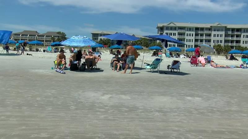Beachgoers enjoy rays of sunshine on Hilton Head Island