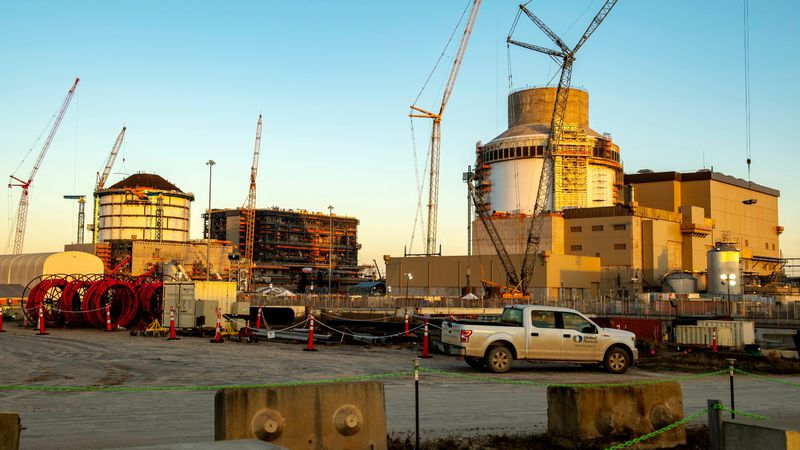 Plant Vogtle Units 3 (left) and 4 are shown in a February 2021 photo from Georgia Power.