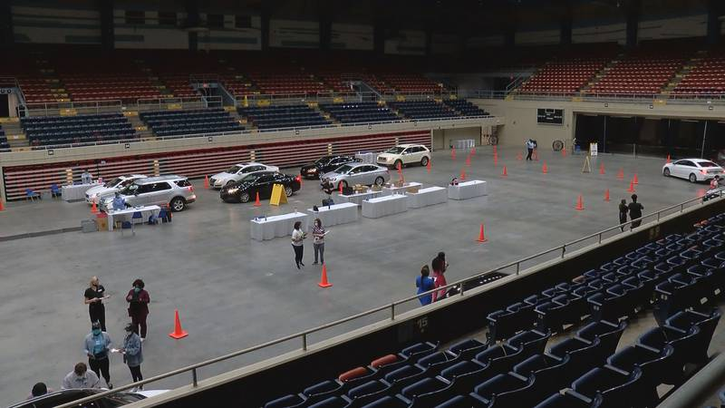 COVID-19 testing at the Savannah Civic Center.