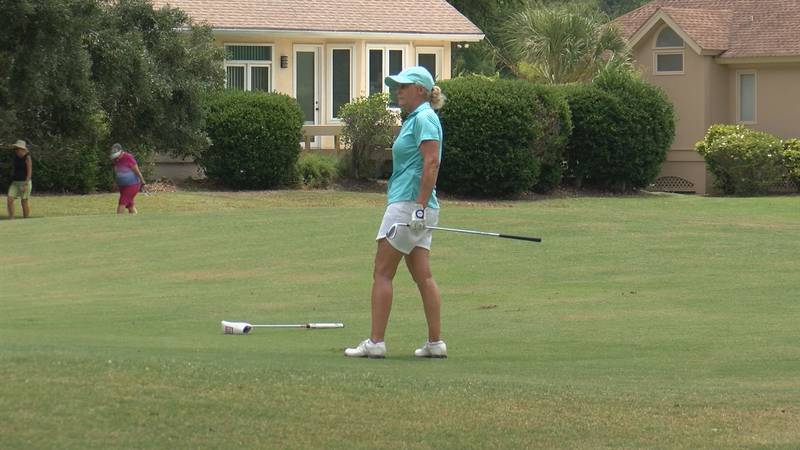 Kathy Johnston-Forbes on the 16th hole at  Moss Creek Golf Club's South Course. Forbes won the...