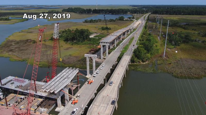 FILE - Construction on the new Islands Expressway bridge.