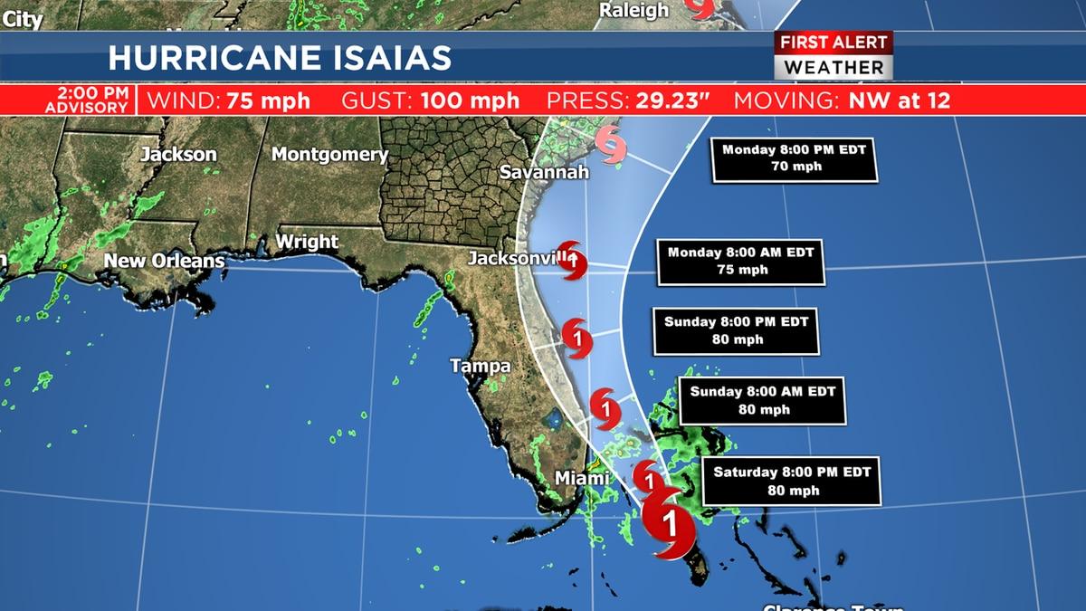 Latest track advisory for Hurricane Isaias.
