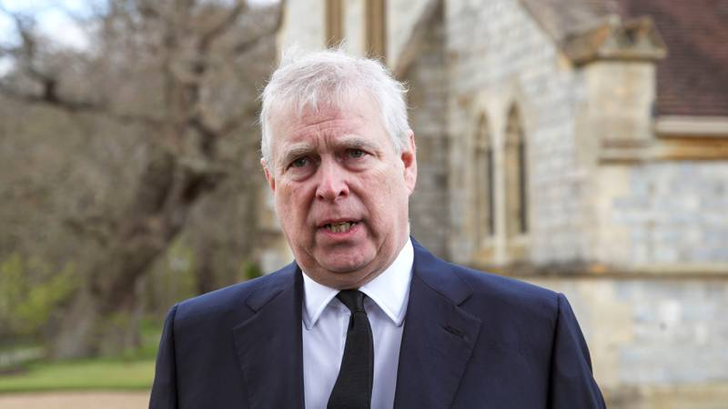 FILE - In this Sunday, April 11, 2021 file photo, Britain's Prince Andrew speaks during a...