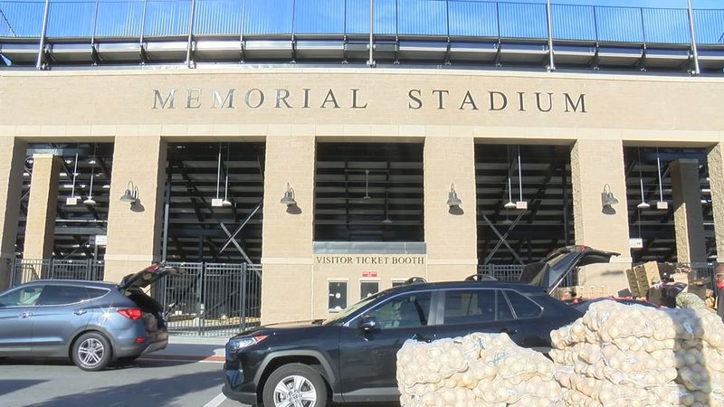 Previous food distribution event held at Memorial Stadium hosted by America's Second Harvest of...