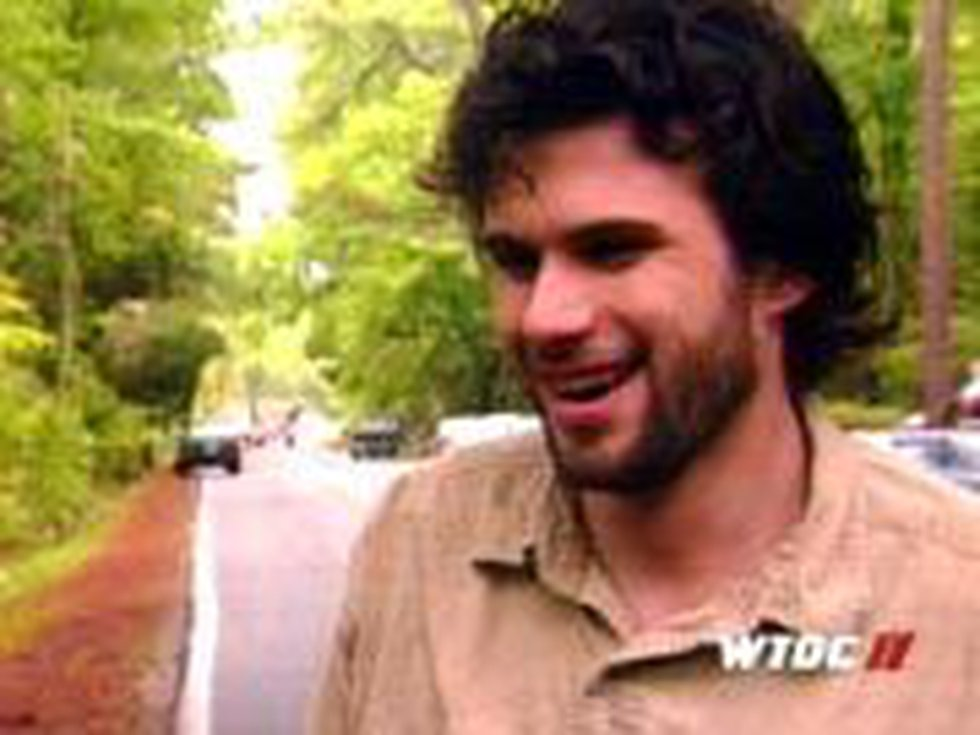 O'Kelley is seen smiling in an interview with WTOC before he became a suspect in the murders...