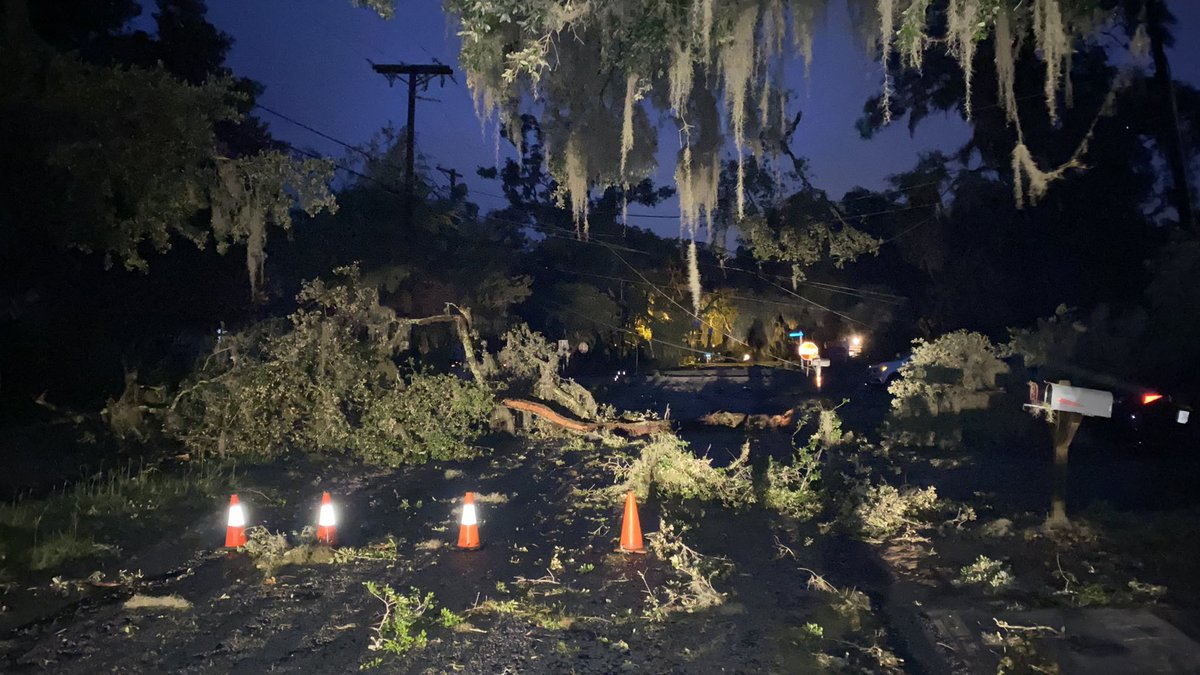 More power lines and trees down on 16th Street in downtown Port Royal, S.C.