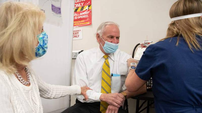 South Carolina Gov. Henry McMaster received the first dose of the Pfizer vaccine at a CVS...