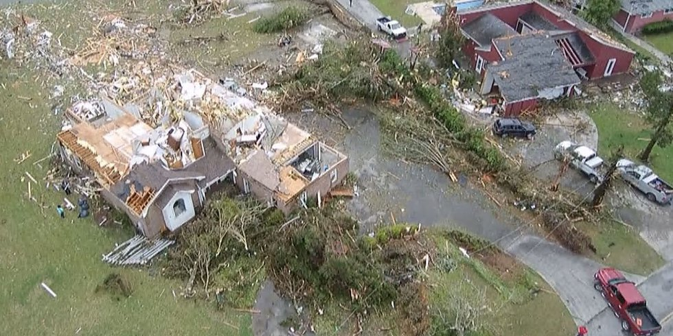 Clean up efforts are underway in a Moncks Corner neighborhood after a possible tornado came...
