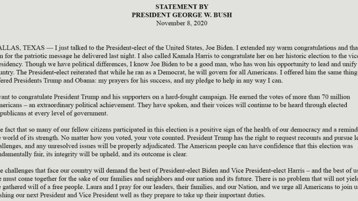 Bush statement