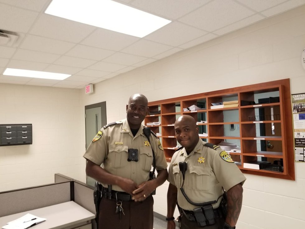 Deputy Sheldon Whiteman with a fellow deputy of the Chatham County Sheriff's Office.
