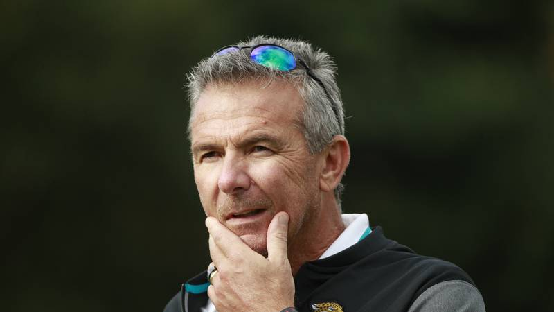 Jacksonville Jaguars head coach Urban Meyer listens to a question during a practice and media...