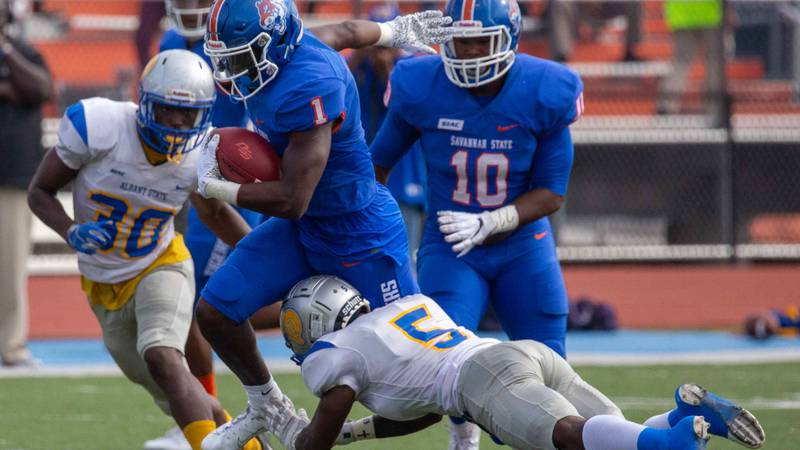 Savannah State football's D'Angelo Durham carries against Albany State on Oct. 26, 2019. [Photo...