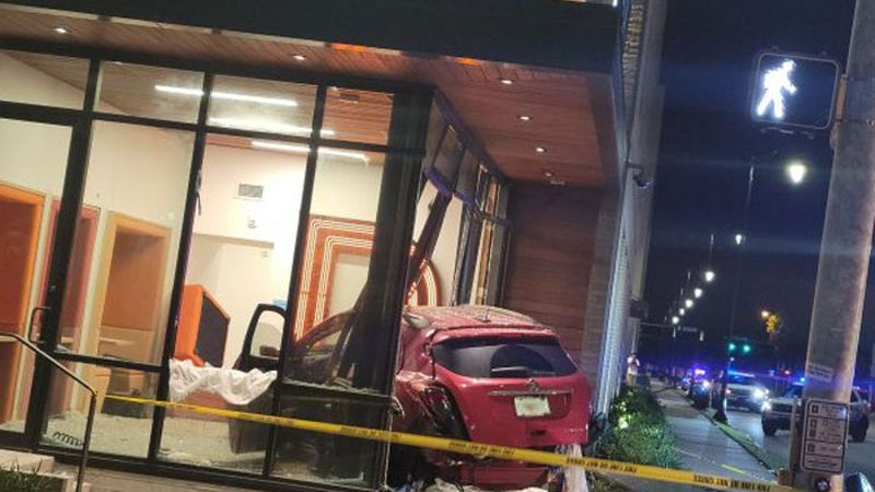 A wreck sent a vehicle crashing into a building overnight in Savannah.