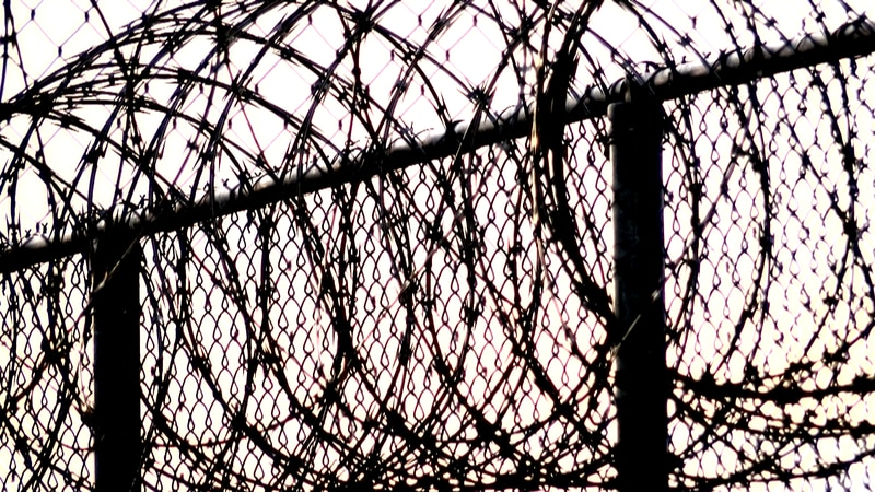 Barbed wire sits atop a fence as a North Carolina prison.