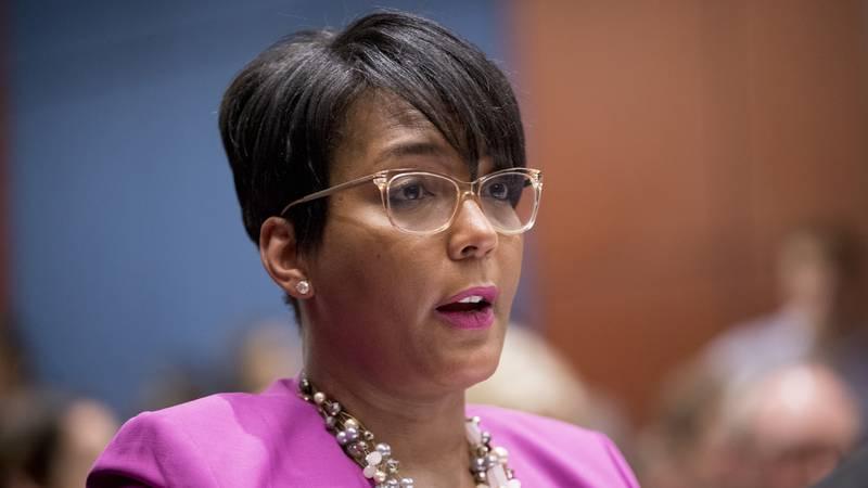 In this July 17, 2019 file photo, Atlanta Mayor Keisha Lance Bottoms speaks during a Senate...