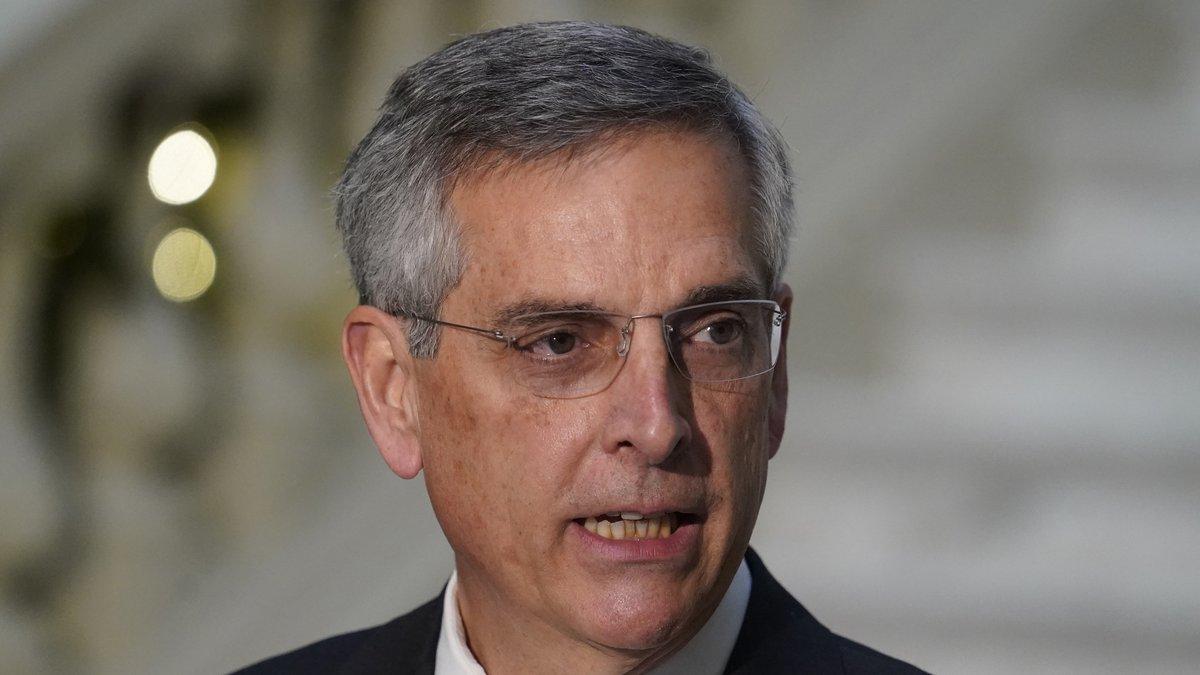 FILE - In this Dec. 14, 2020, file photo, Georgia Secretary of State Brad Raffensperger speaks...