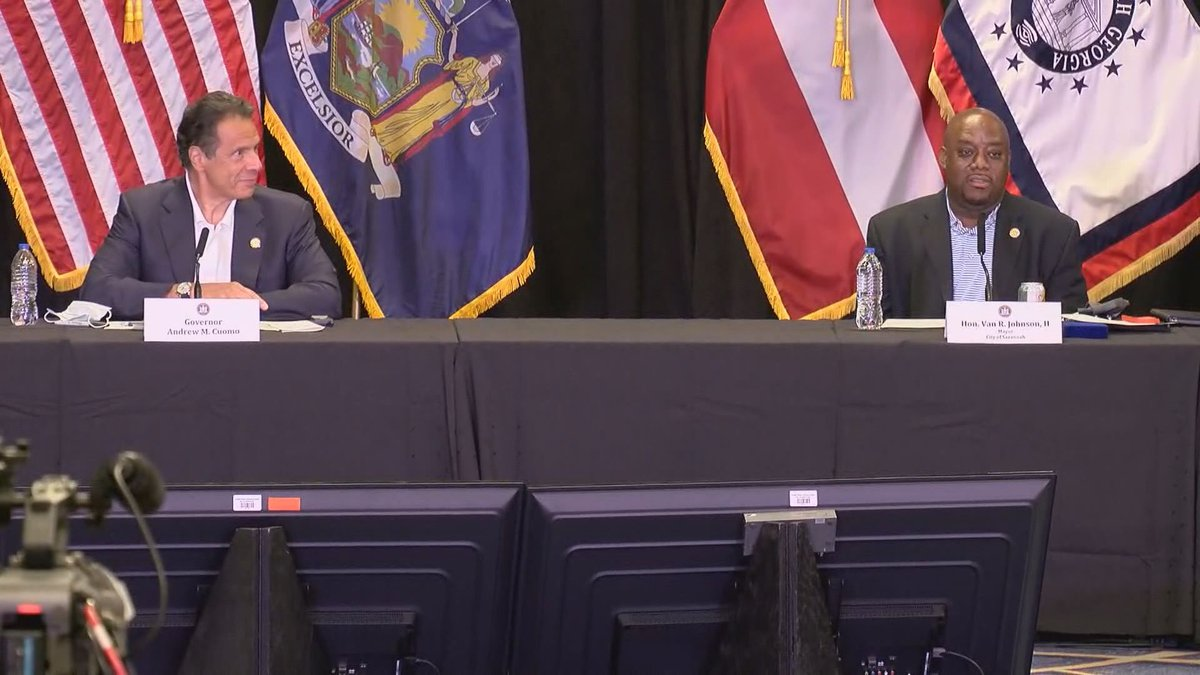 New York Governor Andrew Cuomo and Savannah Mayor Van Johnson during a news conference on...