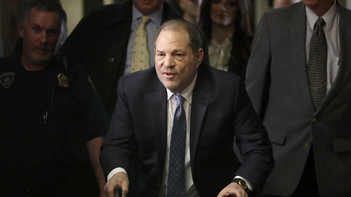 FILE - In this Feb. 24, 2020 file photo, Harvey Weinstein arrives at a Manhattan courthouse for...