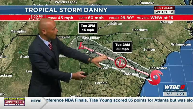 Tropical Storm Danny nears landfall