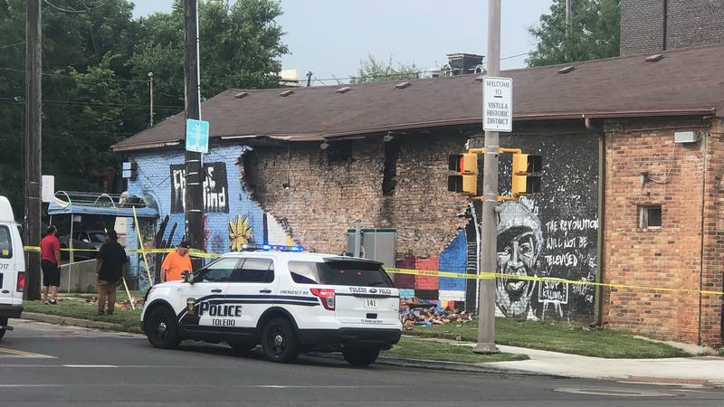 A mural for George Floyd painted in Downtown Toledo has collapsed.