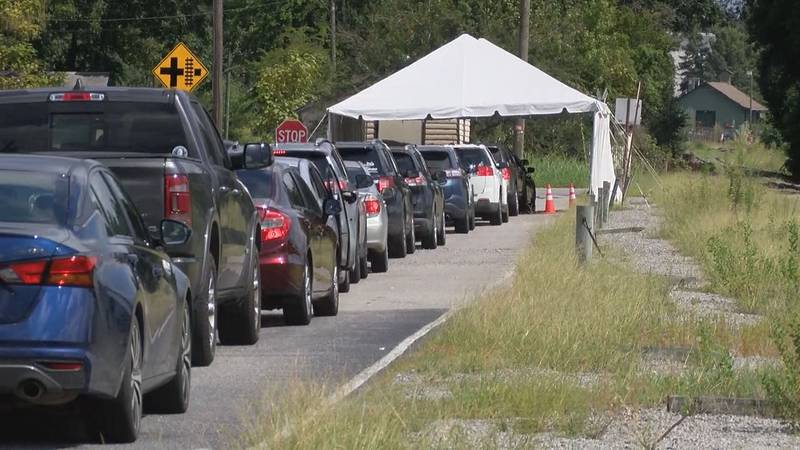 Cars are lining up for blocks at a Bulloch County COVID-19 testing center in Statesboro.