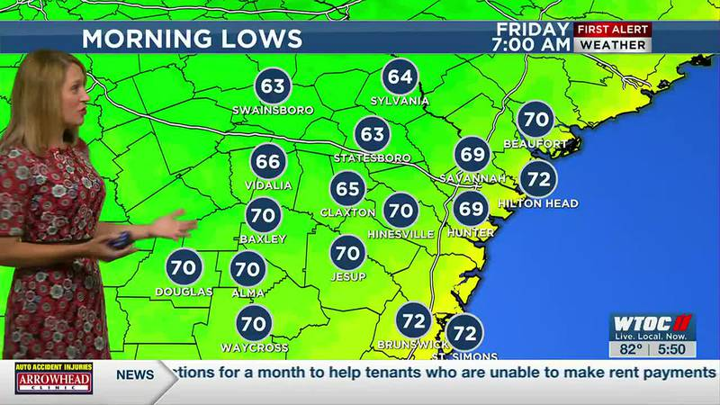 Low 60s inland Friday morning