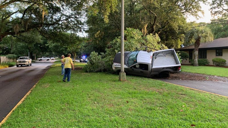 A truck crashed into a tree on Abercorn Street, shutting down the southbound lanes between...