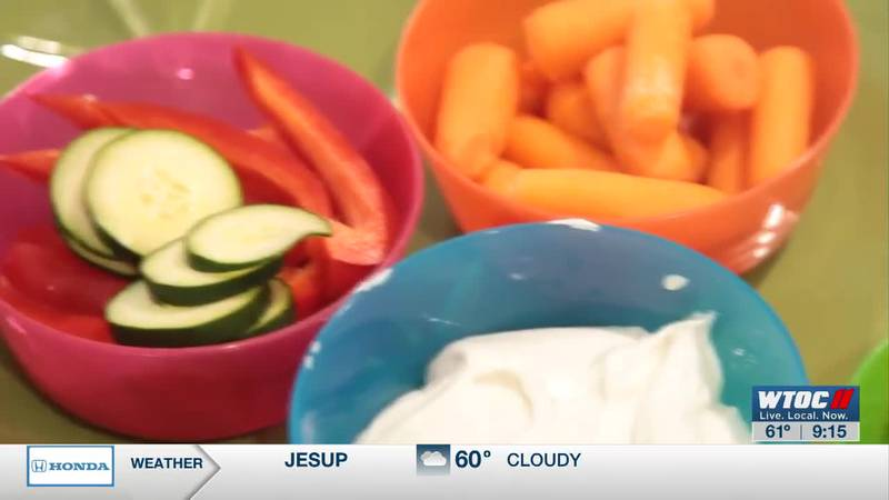 Making a healthy dip for veggies your kids will enjoy