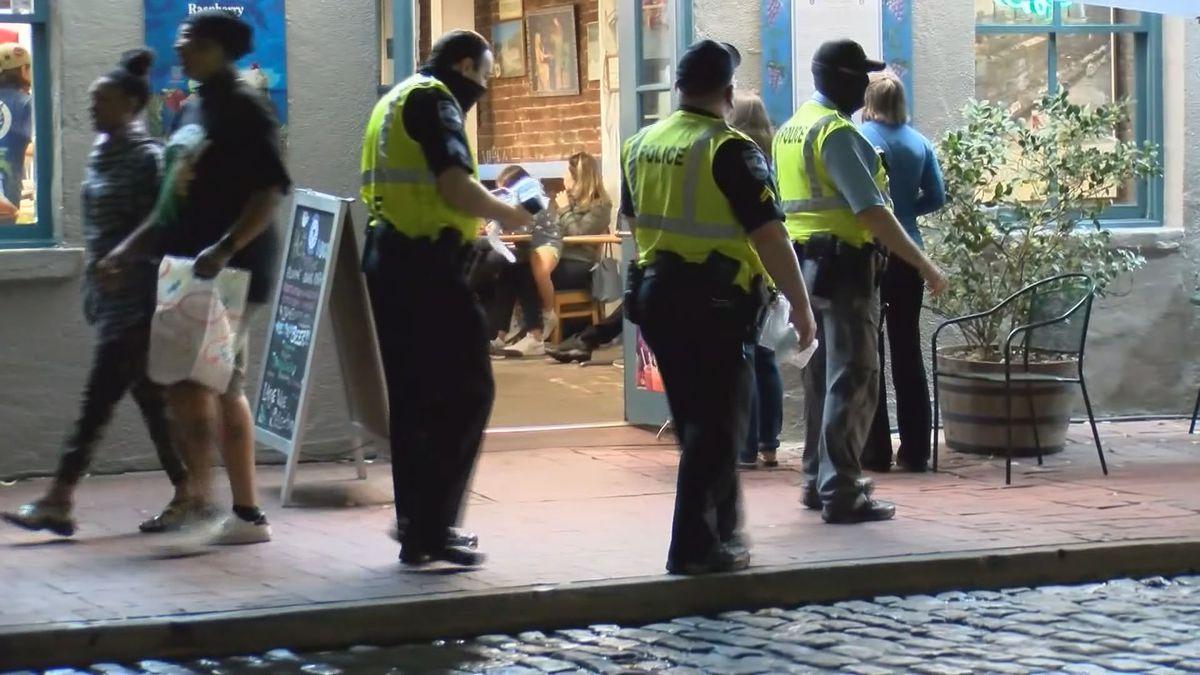 Savannah Police patrol downtown the week of St. Patrick's Day.