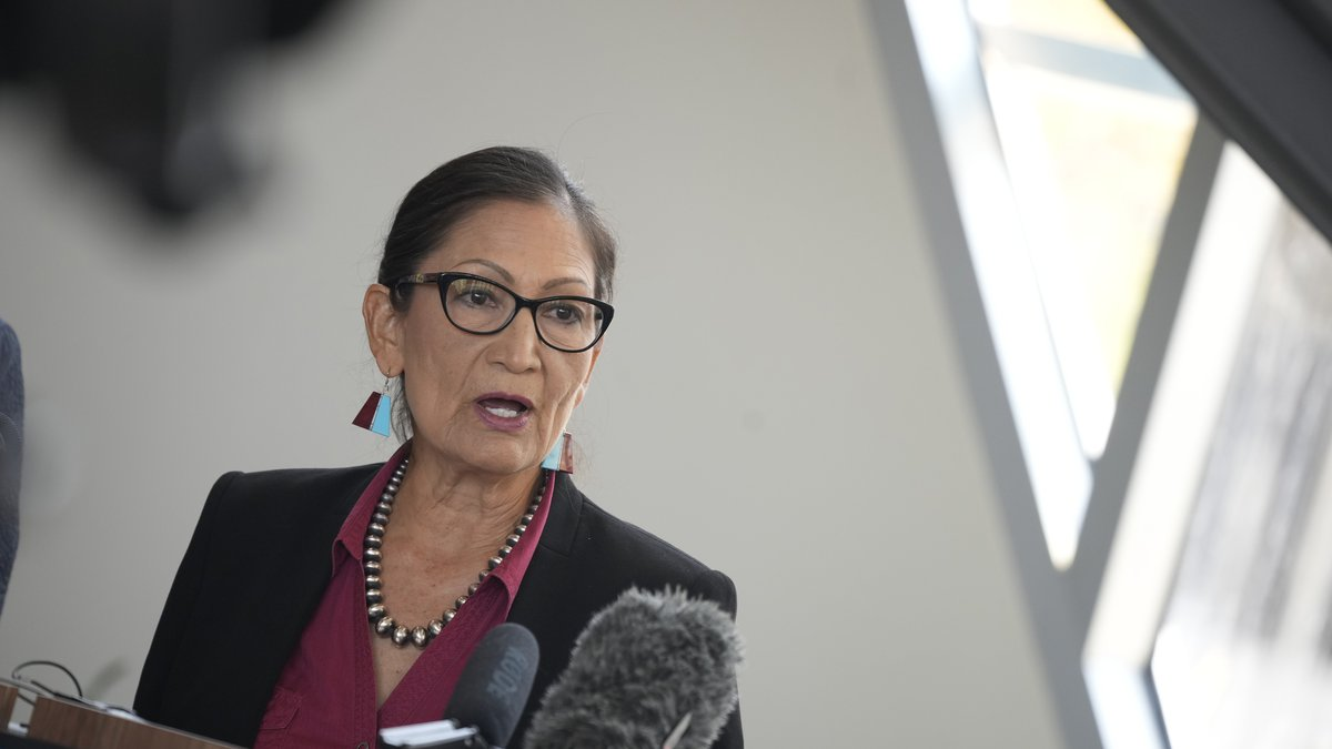 Interior Secretary Deb Haaland, speaks during a news conference after Haaland's visit to talk...