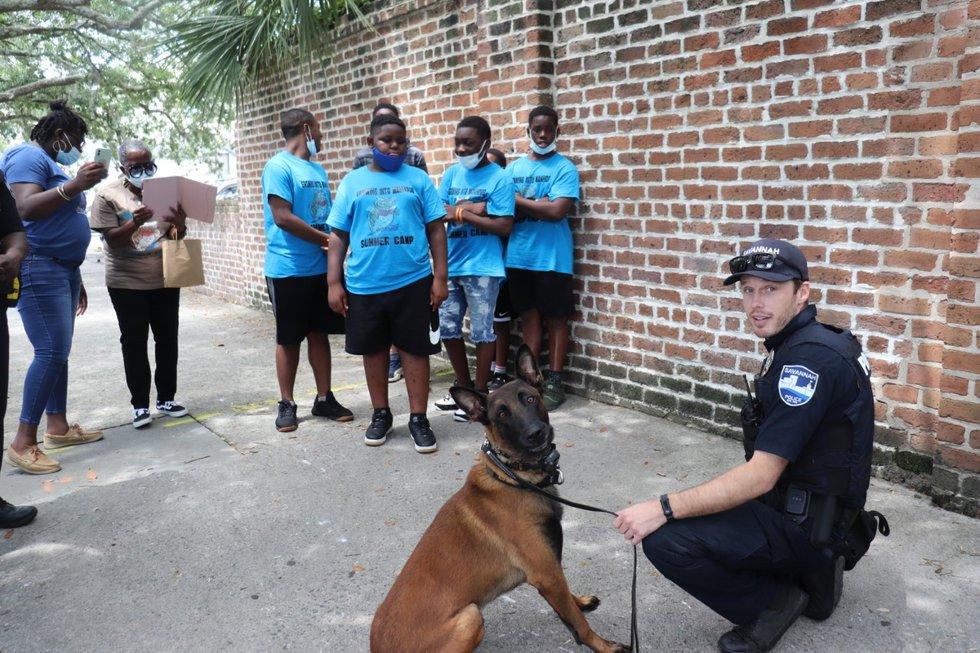 K-9 Jas with Savannah Police Officer Jon Lindsey.