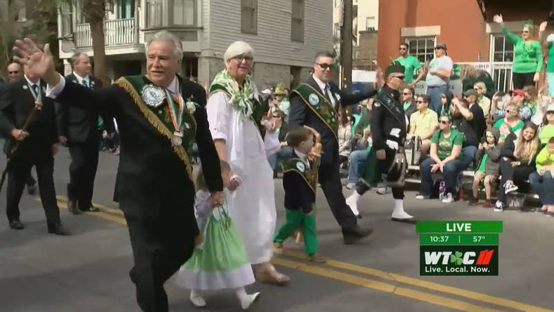 FILE - A previous Grand Marshal during the St. Patrick's Day Parade in Savannah.