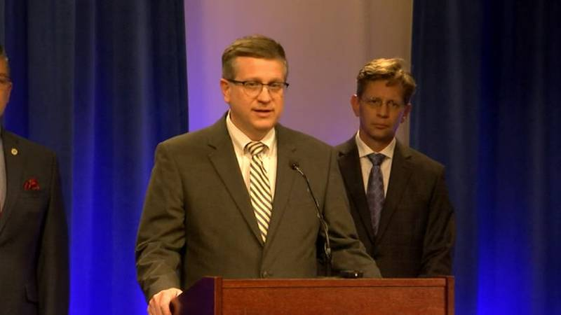 Alabama State Health Officer Dr. Scott Harris speaks at a news conference on coronavirus as...