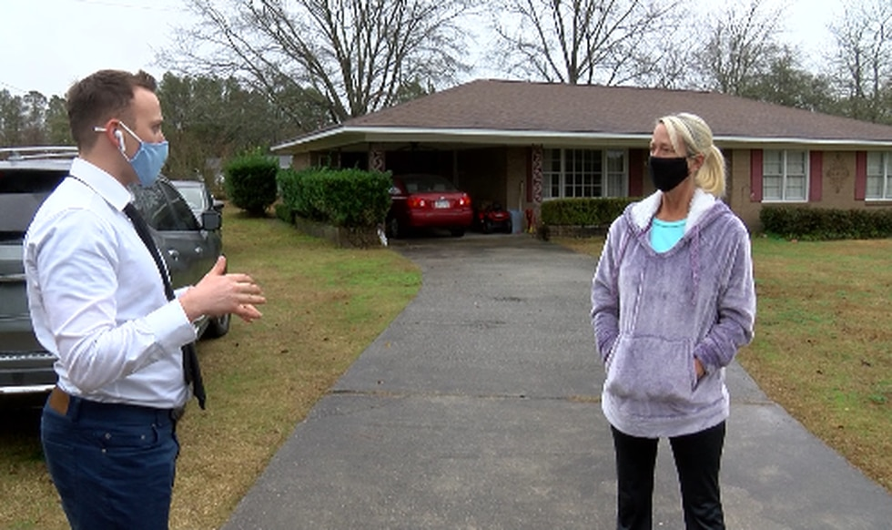 WTOC Meteorologist Cutter Martin speaks with Theresa Johnson about the downed trees near her...