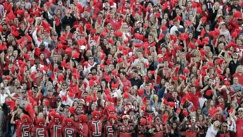 FILE - Georgia fans cheer during the second half of an NCAA college football game against...